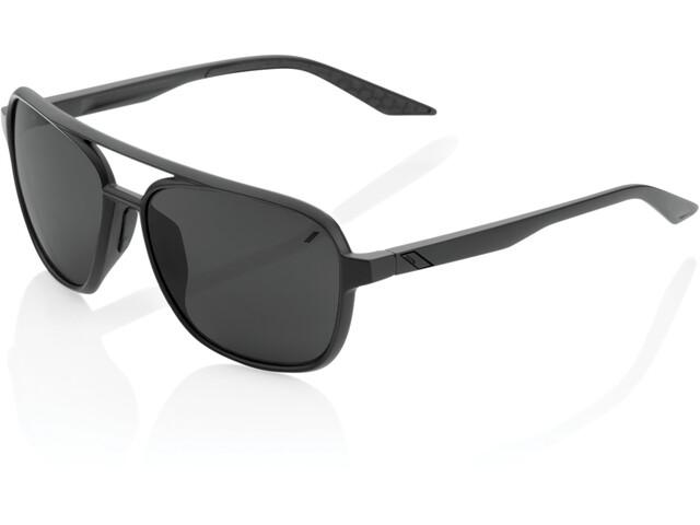100% Kasia Aviator Round Lunettes, matte black/black mirror
